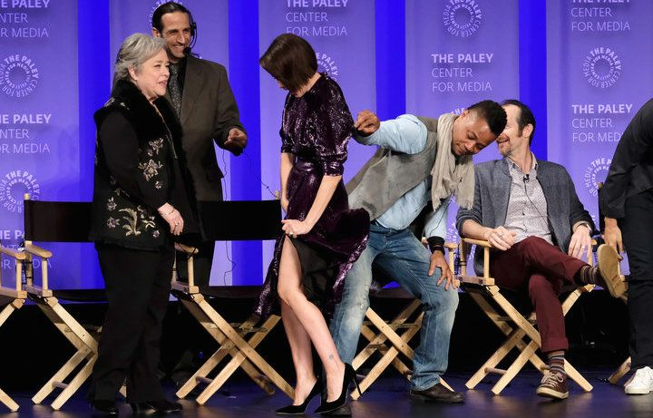 """Cuba Gooding Jr. lifted up Sarah Paulson's dress at an """"American Horror Story"""" panel Sunday night, prompting some concern on social media. via @oneloveallequal"""