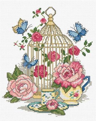 Decorative birdcage with roses & butterflies in cross stitch