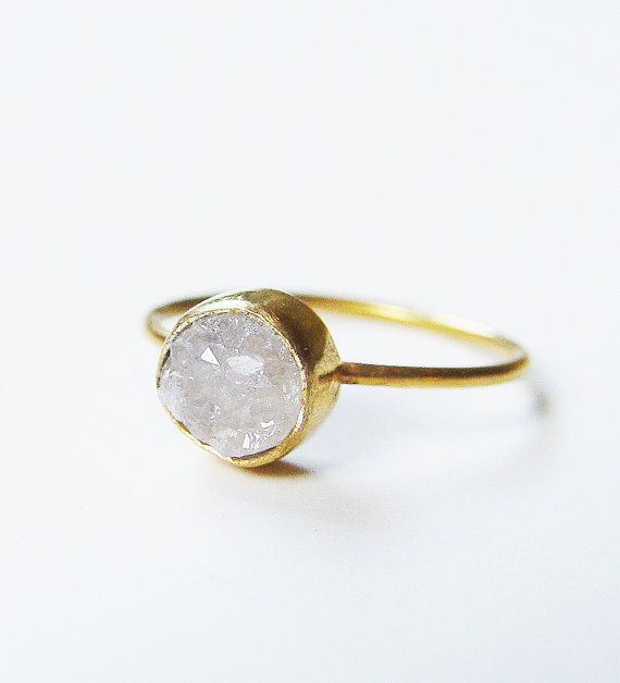 SALE Vanilla Druzy Gold Ring OOAK by friedasophie on Etsy