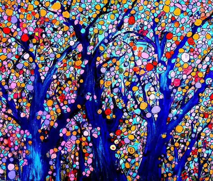 One Of A Kind Shower Curtains Part - 30: Jeweled Forest Painting - Jeweled Forest Fine Art Print
