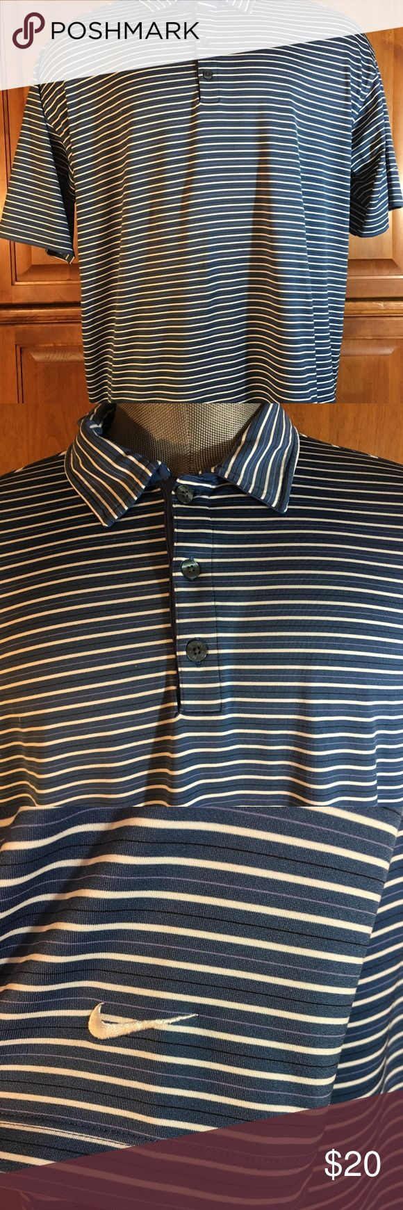 ♻️ Nike Mens striped golf Polo Shirt Size Xl Nike golf mens striped polo shirt  size - Xl  color - Blue/white  Excellent Condition Nike Shirts Polos