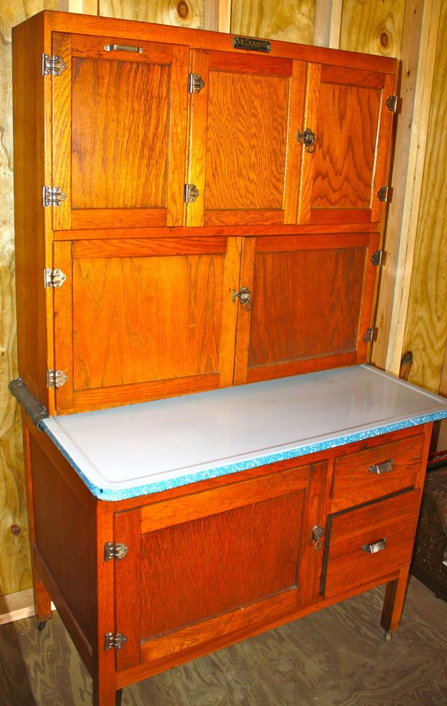 Antique Oak McDougall Hoosier Cabinet Metal Flour Bin U0026 Glass Sugar  Container