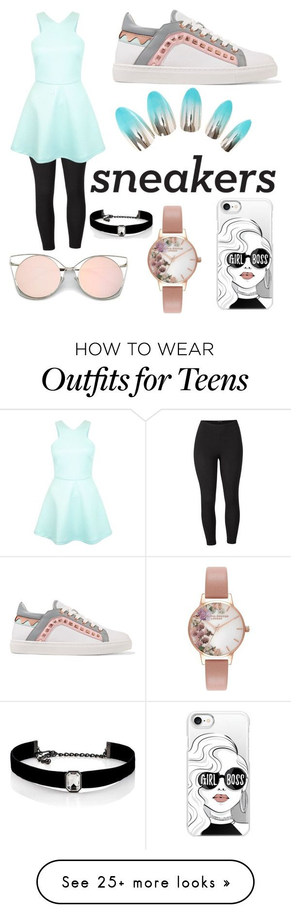 """Sneakers"" by uniqueclinique on Polyvore featuring Venus, Sophia Webster, Casetify, Olivia Burton, Kenneth Jay Lane and plus size clothing"