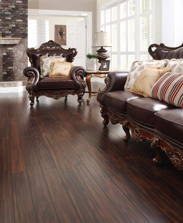 Clic Living Room With Ing Pecan Wood Flooring