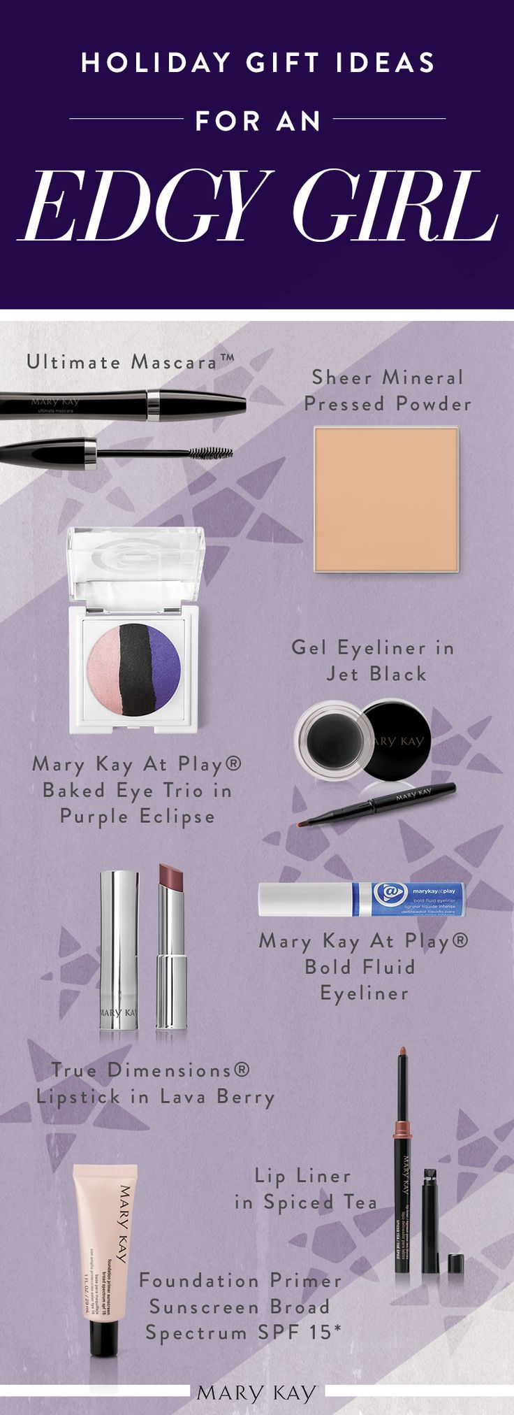 Go bold with Gel Eyeliner in Jet Black, True Dimensions® Lipstick in Lava Berry, and Mary Kay At Play® Baked Eye Trio in Purple Eclipse. These eight products make the ideal gift for a girl who loves edgy makeup looks!