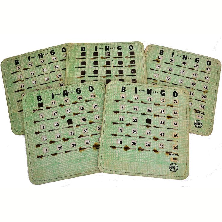 Vintage 1950s Bingo King Cards Shutter Slide Windows Game Boards Green Lot of 5