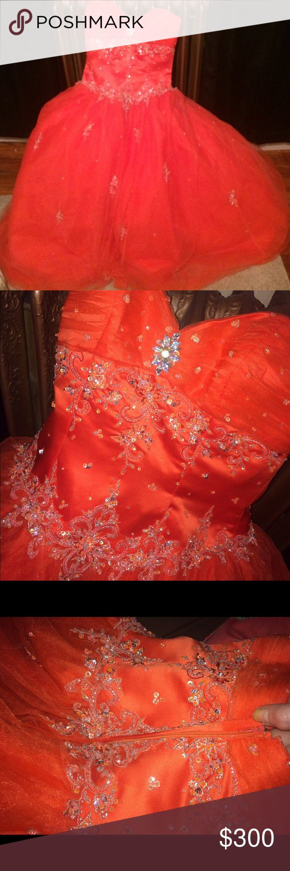 Orange formal dress✨ Prom dress or whatever you'd like, good condition. Only worn once. Best offer!! ✨ Dresses Prom