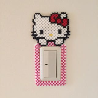 Hello Kitty light switch frame perler beads by Pink's shop