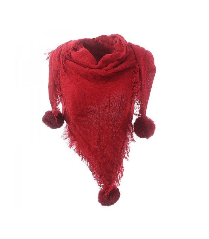 Rode sjaal met pommetjes en franjes www.deoorbel.nl