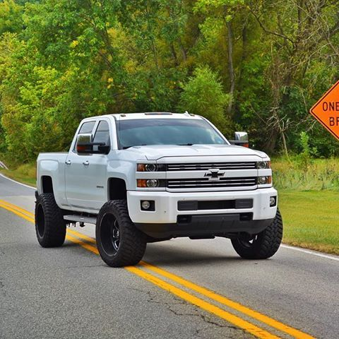 Durrrrtymax, white lifted 2015 chevy Silverado 2500hd duramax diesel