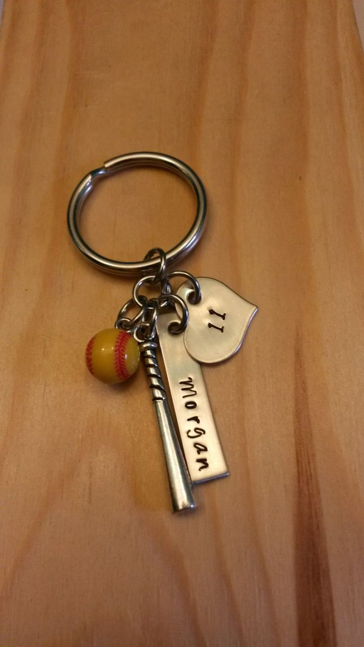 Hand Stamped Softball Keychain Bat Bag Charm Softball Keychain - Softball Girl - Softball Mom by BlackWolfDesigns21 on Etsy https://www.etsy.com/listing/206675050/hand-stamped-softball-keychain-bat-bag