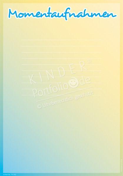 """Kindergarten Portfolio Vorlagen """"Momentaufnahmen"""""""