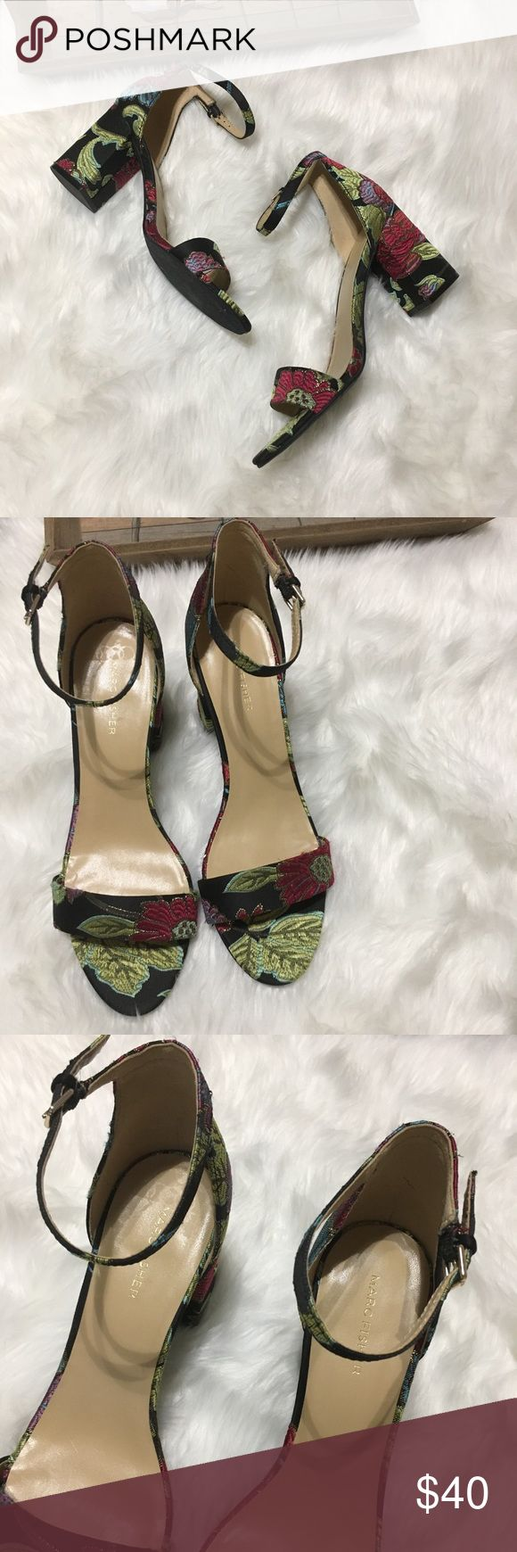 Marc Fisher Embroidered Floral Print Heels Sz 10M Gorgeous Marc Fisher Floral Print Embroidered strapy square heels size 10M in excellent brand new never worn condition. Marc Fisher Shoes Heels