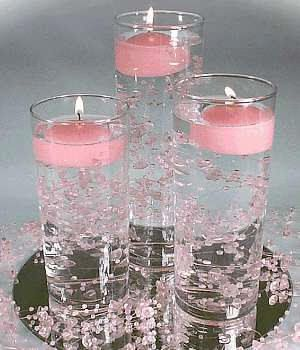 sugar, candle, faux pearls in vase | ... candles. I love the flower or stone options but have also seen coins
