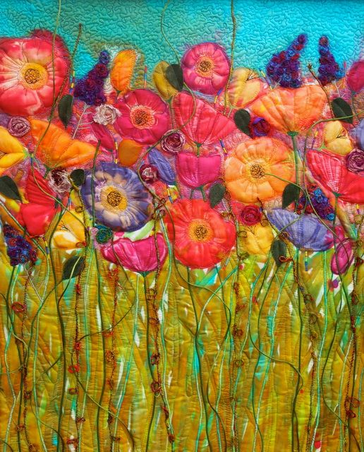 """Poppies by Michelle Mischkulnig (Chelle Textiles, Australia) """"My work is an expression of my life, my life full of happiness, joy, a beautiful family, good friends and laughter. My inspiration comes from warm winter sun, the sound of the ocean, darting dragonflies, places I have been, family holidays, first spring gardens and everyday life"""""""