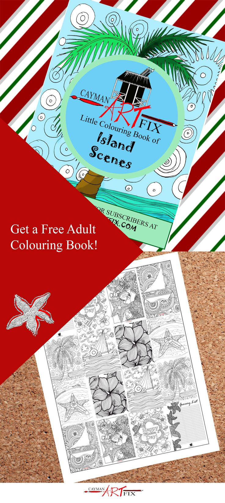 Looking for something to gift yourself without spending a dime? - Check out our Adult Colouring book that will give you a chance to sit back and relax this busy season! #Adultcolouring #adultcolouringbook #relax #takeabreatherthischristmas #colouringpages #christmas #islandart #caymanart #caymanislands #caymanartfix
