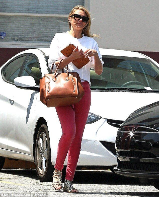 Cameron Diaz wearing Celine Small Square Luggage tote Hudson Harkin Cropped Jeans in Soft Parade