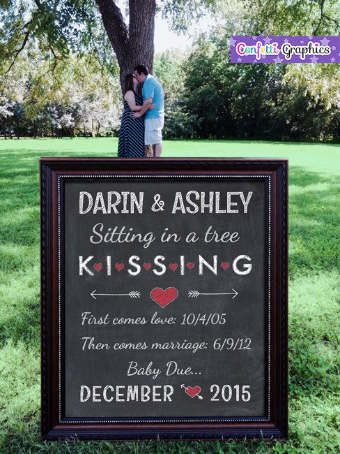 Chalkboard Pregnancy Baby Announcement Sitting in a Tree KISSING Chalk Poster Sign Photo Shoot Prop - DIY Digital File by ConfettiGraphics on Etsy https://www.etsy.com/listing/257297885/chalkboard-pregnancy-baby-announcement
