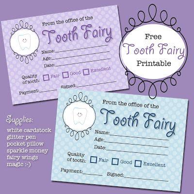 The Polka Dot Posie: Free Tooth Fairy Receipt Printable; print 9 per page to fit in Altoid tin