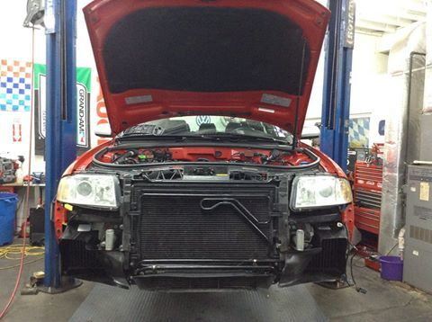 So here is the after shot with the Wagner Tuning intercooler kit installed. Very stealthy with the black intercoolers and carbon fiber ducts.