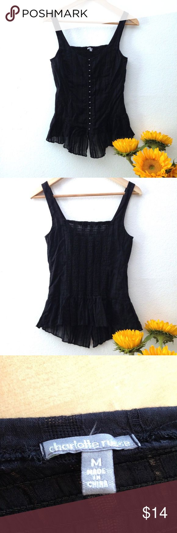 Charlotte Russe Black Front Clasp Top Black bodice style top with front clasps, stretchy smocked back, and peplum style bottom. Very flattering with vertical seams and stretchy back. Perfect going out top paired with jeans and heels. Charlotte Russe Tops Tank Tops