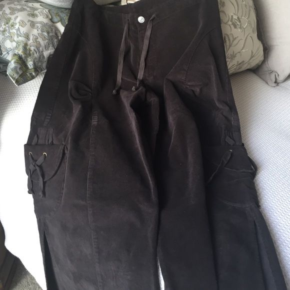 Corduroy big leg capris These capris have been worn once. Perfect condition size lg draw string big leg XCVI Pants Capris