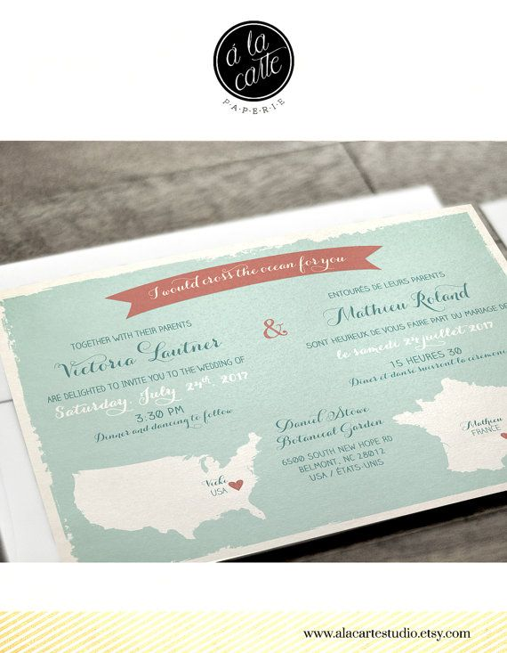 Bilingual Destination wedding invitation RSVP by alacartepaperie