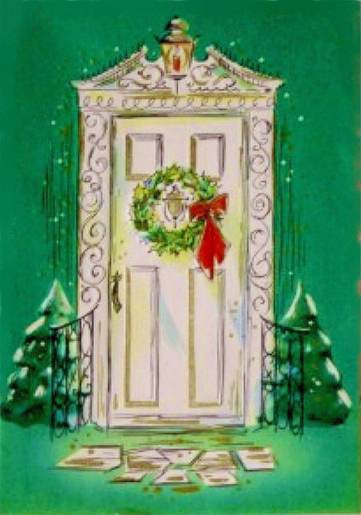 Regency door with Christmas wreath.