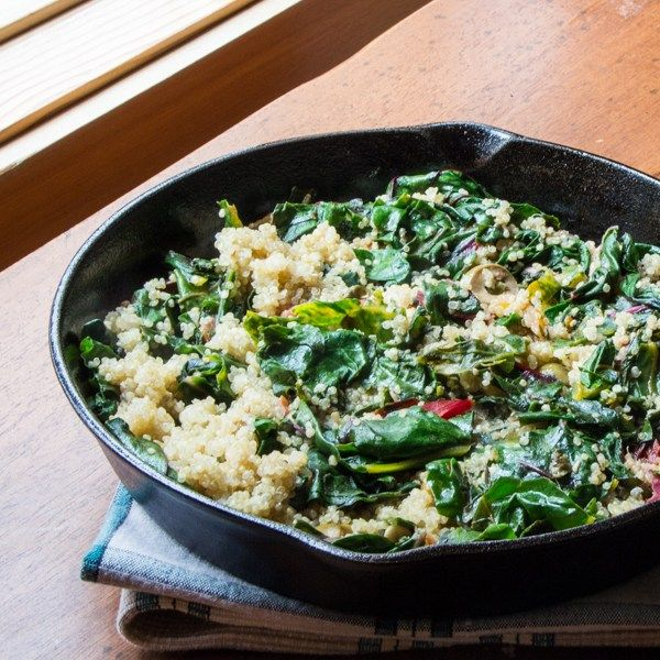 Lemony Swiss Chard and Quinoa Saute with Fried Capers and Olives: #WeekdaySupper