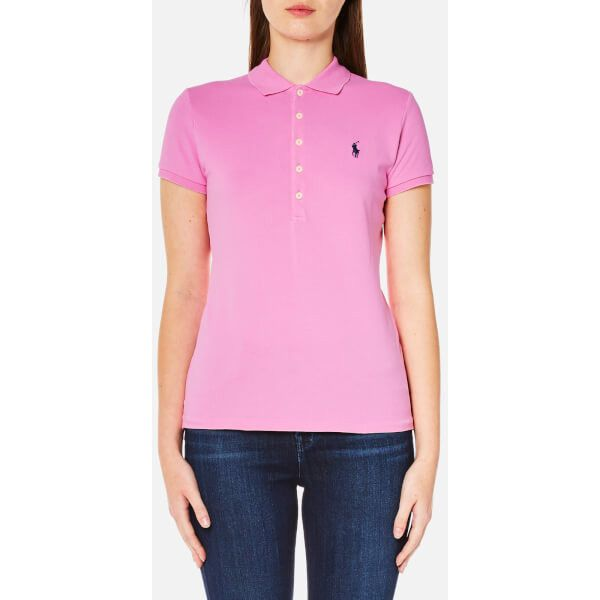 Polo Ralph Lauren Women's Julie Polo Shirt - Pale Rose ($69) ❤ liked on Polyvore featuring tops, pink, ralph lauren, pink polo shirts, rose top, ralph lauren tops and rosette top
