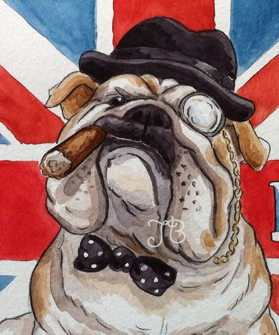 ORIGINAL British Bulldog watercolor Illustration by SparksaFlying, $50.00