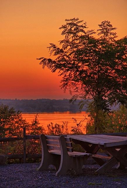 Overlooking Owasco Lake on a beautiful fall evening. Photo by Matt Champlin. What a terrific photo.