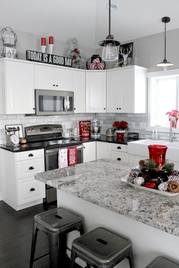Red Decorations For Kitchen Christmas Decor White Black