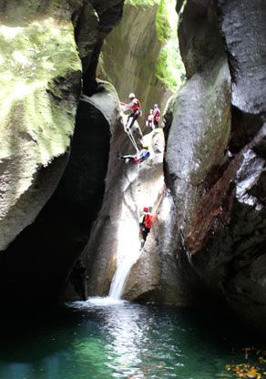 #Canyoning down waterfalls in Dominica!