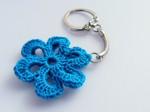 Key chain Bag Charm Keyring Crochet Flower Blue by imynda ...