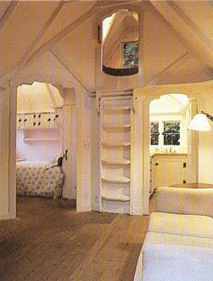 Absolutely Enchanting.. Can you imagine being a little girl living in a cottage by the sea, with a bedroom that not only has its own bathroom, but a secret hideaway up a ladder!