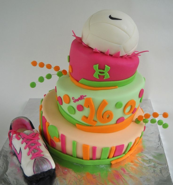 Sweet 16 cake for a sporty fun girl. Cereal treat volleyball and shoe. Chocolate cake with raspberry filling. TFL!