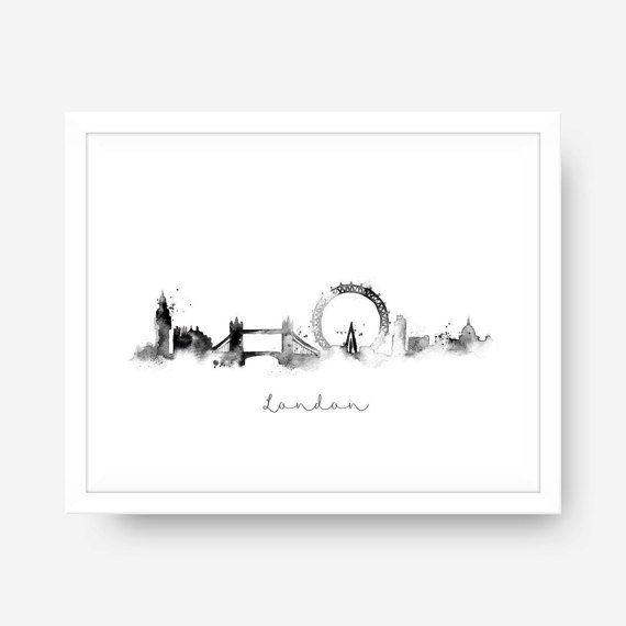 Londen Skyline zwart / wit Splatter aquarel door blueelephantprints