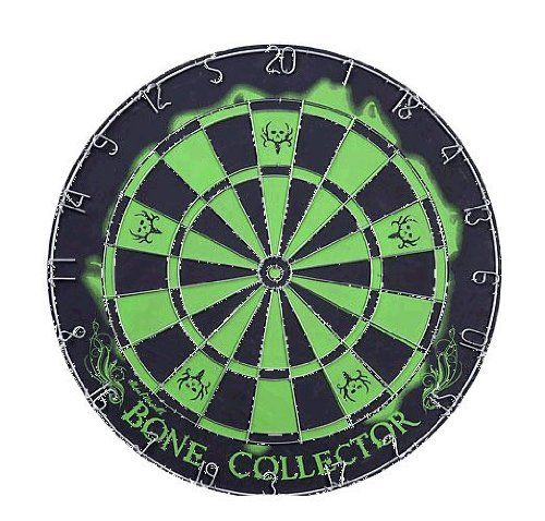 Browning Bone Collector Two Sided Dartboard by Browning. $19.99. The Browning Bone Collector Two Sided Dartboard is two sided for twice the fun! Comes in Bone Collector green and black with the logo on both sides. The board is 18 inches in diameter and 7/8 inch thick with thin steel matrix and numbers on one side and nine evenly spaced rings on the other. Includes six steel tip brass darts and mounting hardware. Great to pass the evenings at the hunting cabin or in a rec ro...