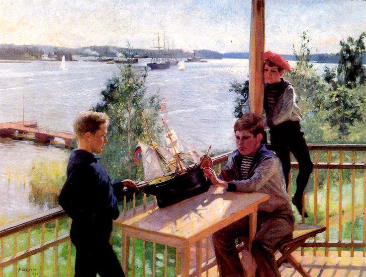 Kuva albumissa ALBERT EDELFELT - Google Kuvat.  Eklöfin pojat Villa Sjökullan kuistilla, 1890.  Petit Oy, iso kortti.
