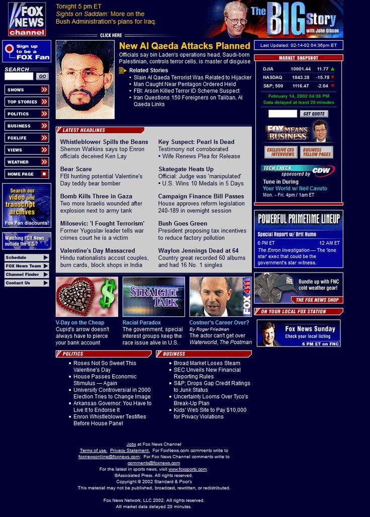 Fox News Channel website in 2002