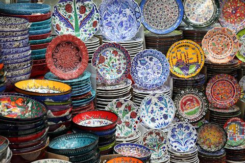 Handmade dishes at the Grand Bazaar Istanbul, Turkey
