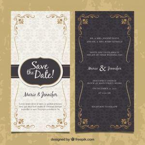 Template Undangan Vintage Wedding Invitation Vector Wedding Invitations Vintage Wedding Invitations