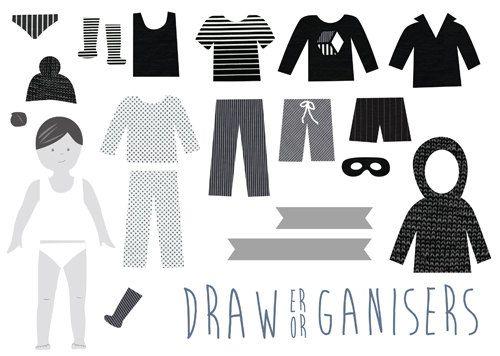 Drawer Organisers black monotone restickable by tinchDesignStudio