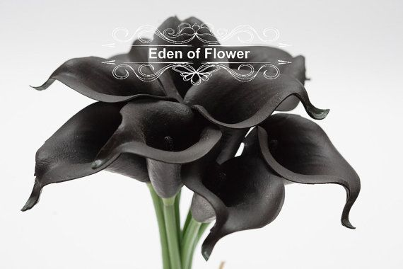 Black Calla Lilies Real Touch Calla Lily Bouqet by EdenOfFlower