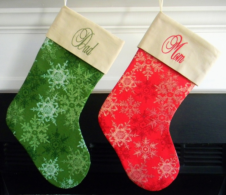 Personalized Christmas Stocking - Red or Green Snowflake. $25.00, via Etsy.
