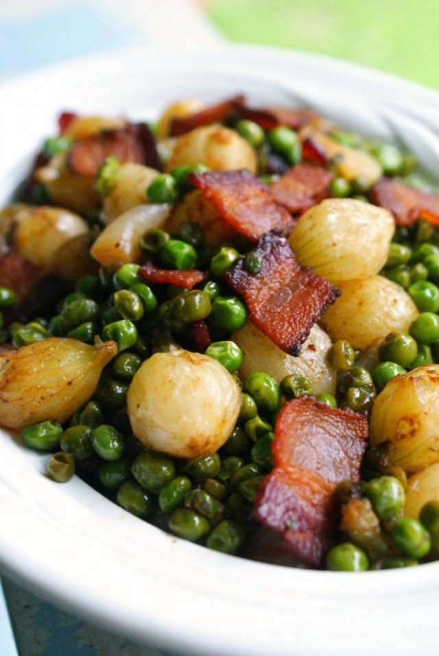 Pearl Onions, Peas & Bacon _ The smoky paprika & the sweet brown sugar transformed the ordinary veggies into something special. The whole family scarfed them down!