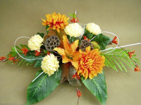 CHRYZANTEMY rude ecru misa 551 STROIK NA GRÓB sztuczne kwiaty - zdjęcie 1
