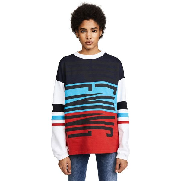 Opening Ceremony Charlie Cozy Sweatshirt (1,025 MYR) ❤ liked on Polyvore featuring tops, hoodies, sweatshirts, navy multi, oversized crew neck sweatshirt, pullover sweatshirts, navy blue crewneck sweatshirt, navy crew neck sweatshirt and long sleeve sweatshirt