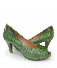 Mystic Sea Serpent - Womens green python peeptoe mid heels $129.00 #shoeenvy #shoes #fashion #instalove #pretty #ethical #glamorous
